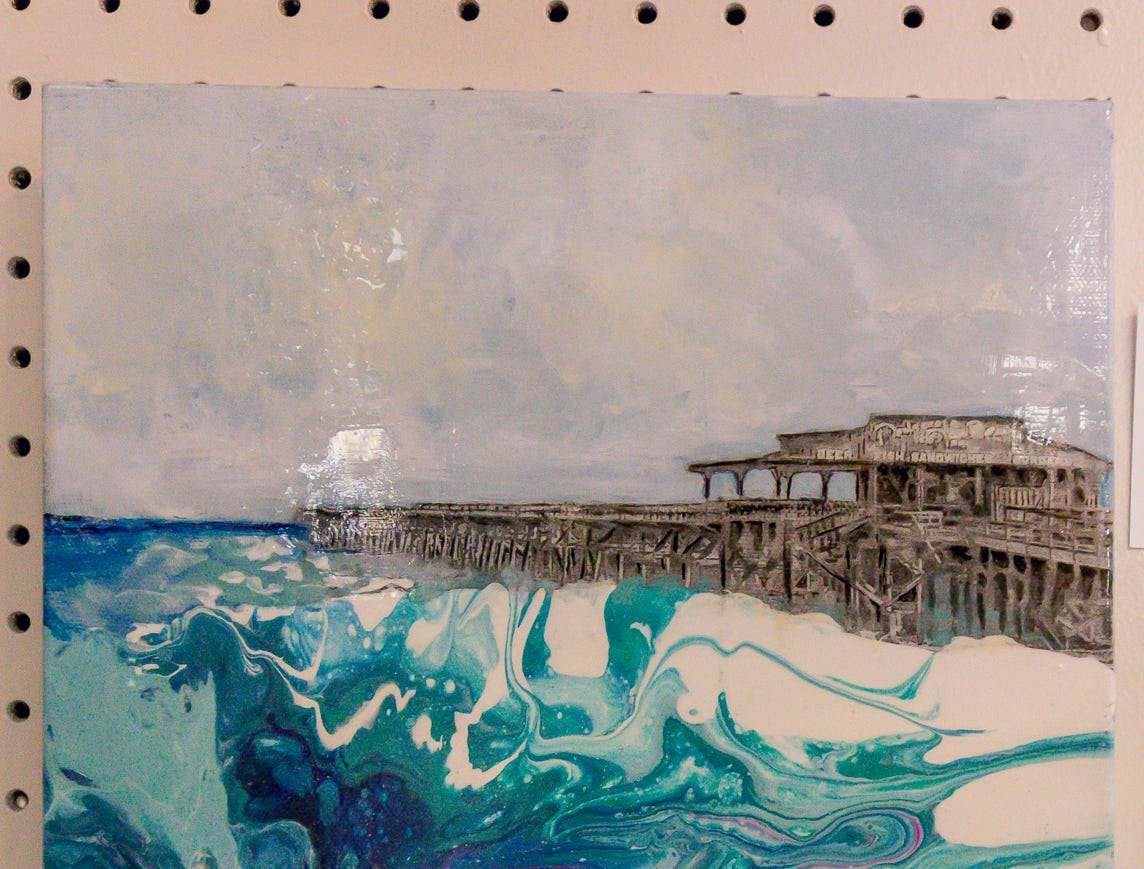 """Pensacola Beach Pier in the 60's,"" an 11""x14"" mixed media piece by Pat Page, is among over one hundred pieces on display in the Fine Arts Exhibition at the Pensacola Interstate Fair on Wednesday, October 17, 2018."