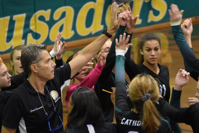 Pensacola Catholic volleyball team enjoyed another three-set sweep Thursday night against West Florida High to advance into Friday's District 1-5A championship game.