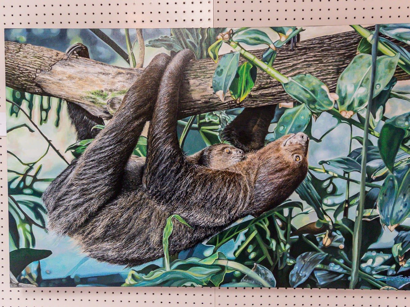 """Sloth,"" a 30""x48"" acrylic painting by Freddy Myers, is among over one hundred pieces on display in the Fine Arts Exhibition at the Pensacola Interstate Fair on Wednesday, October 17, 2018."
