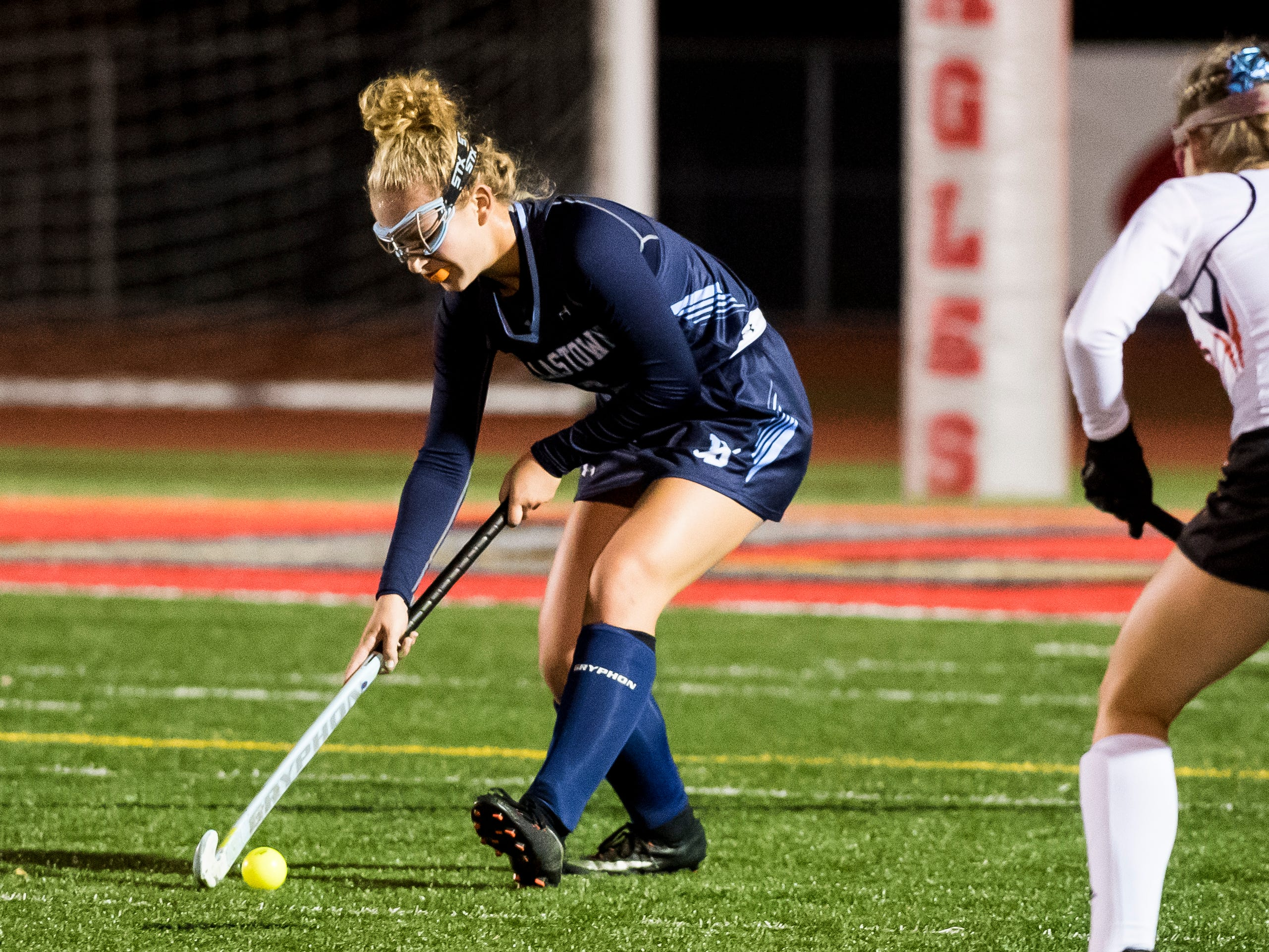 Dallastown's Natasha Milner works the ball down the field during play against Central York in a YAIAA tournament semifinal game on Thursday, October 18, 2018. The Wildcats fell 2-0.