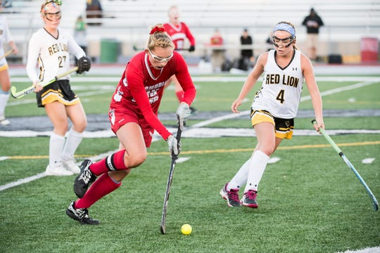 Bermudian Springs' Kayla Pyles works the ball down the field during a YAIAA tournament semifinal game against Red Lion on Thursday, October 18, 2018. The Eagles won 2-0 and will play Central York in the championship game Saturday.