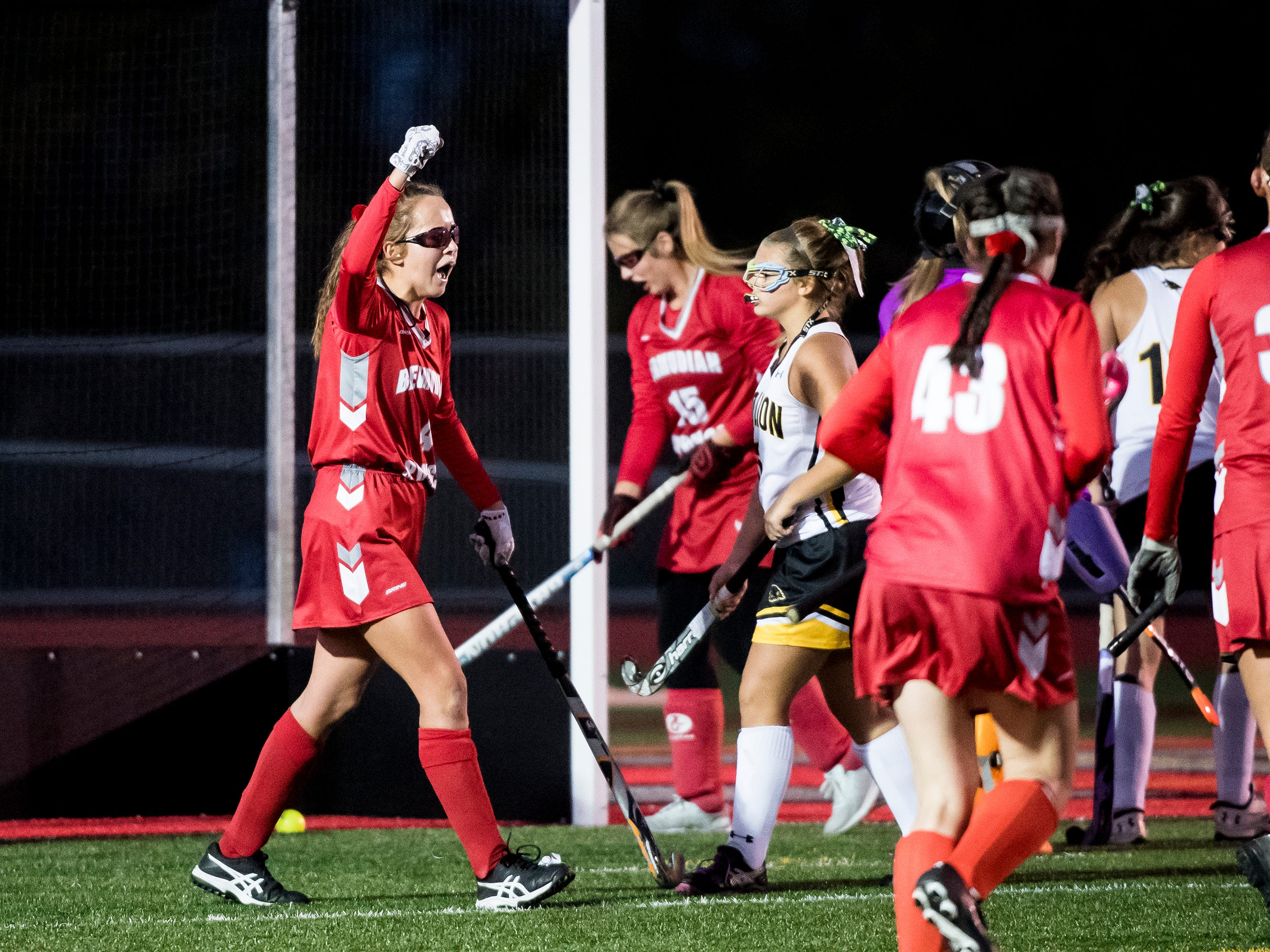 Bermudian Springs' Skyler West celebrates after a goal was scored by teammate Hailey Lamo (15) during a YAIAA tournament semifinal game against Red Lion on Thursday, October 18, 2018. The Eagles won 2-0 and will play Central York in the championship game Saturday.