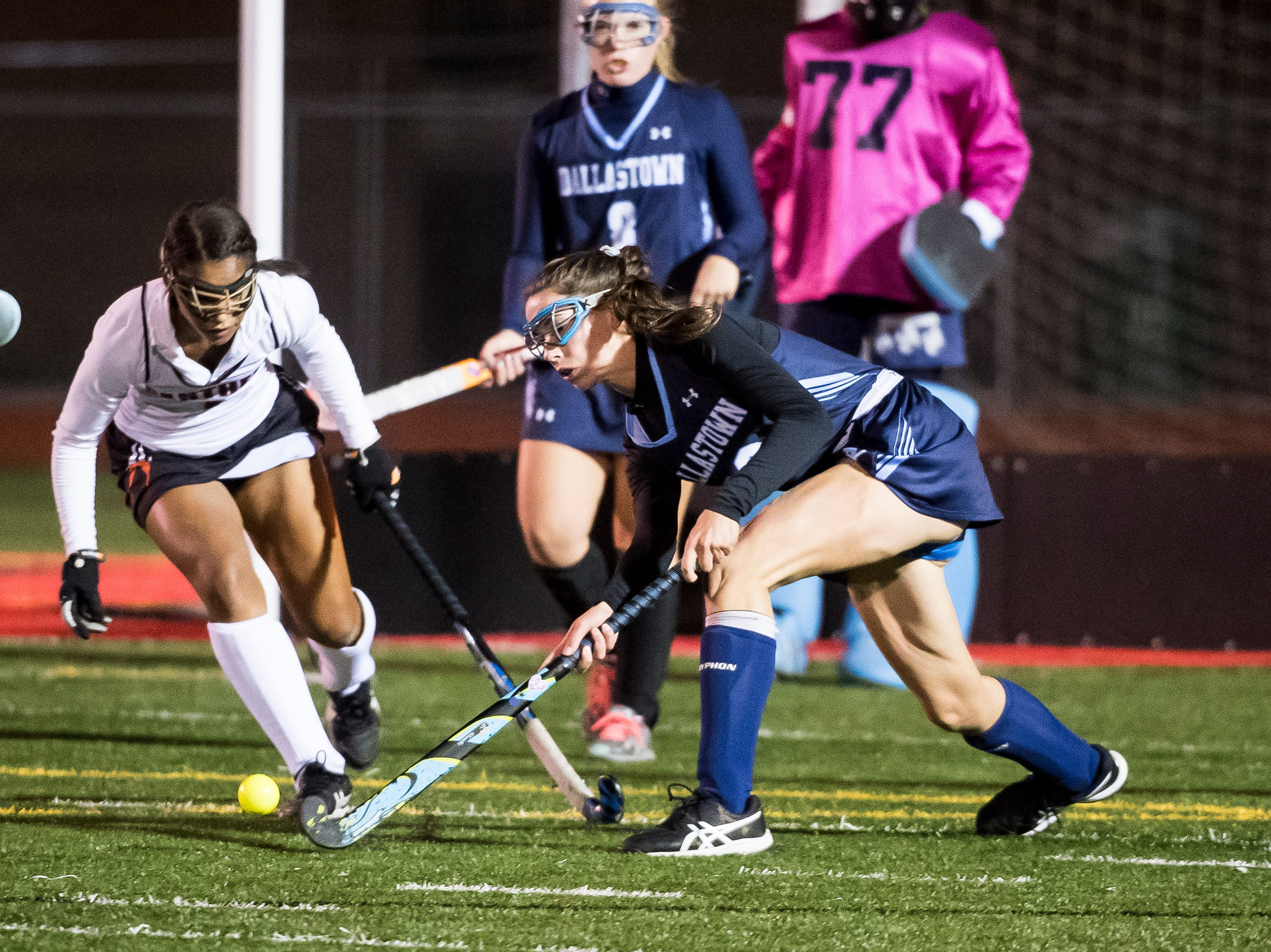 Action during a YAIAA tournament semifinal game between Dallastown and Central York at Bermudian Springs High School on Thursday, October 18, 2018. The Panthers won 2-0 and advance to the championship game against Bermudian Springs on Saturday.