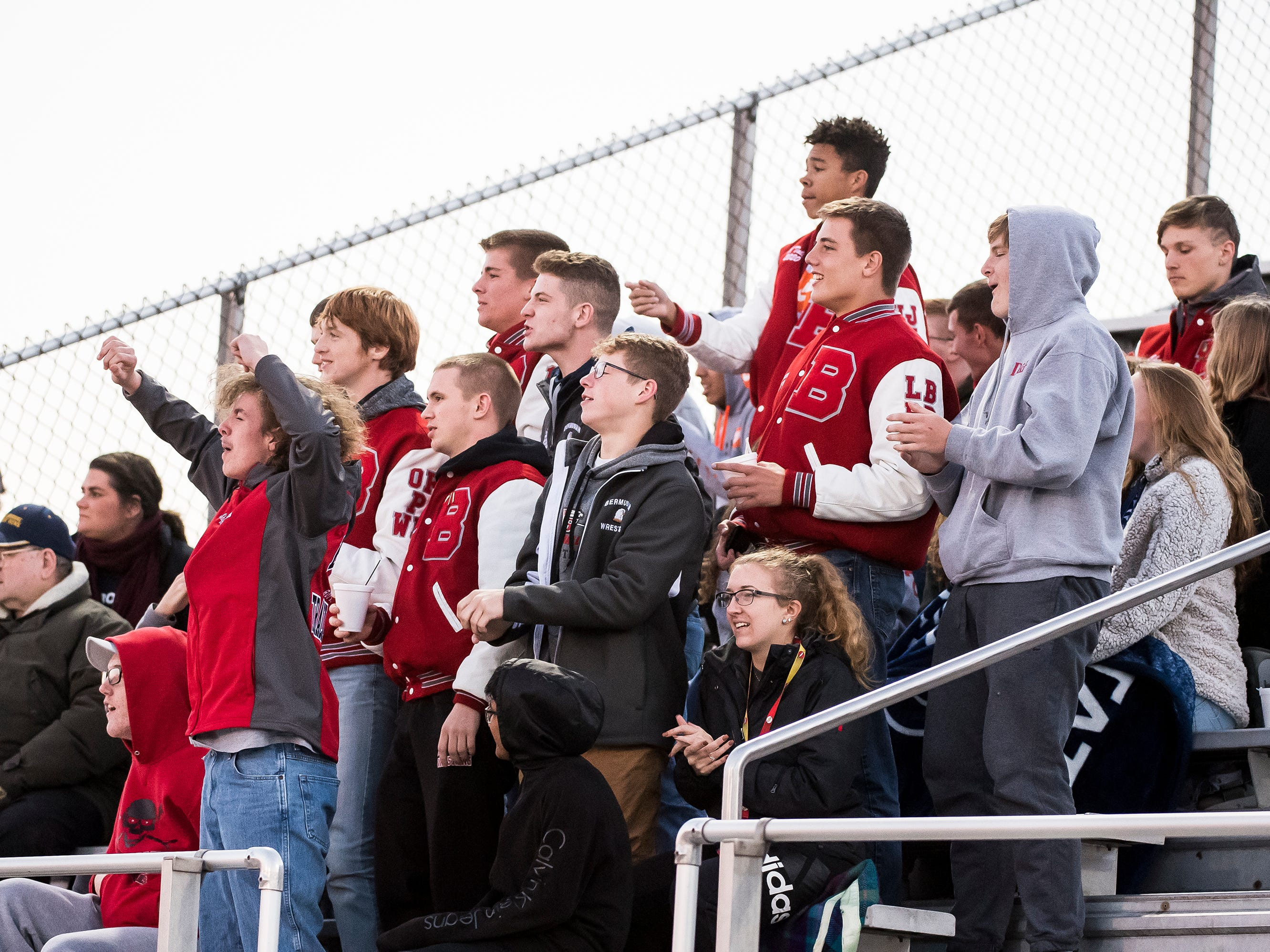 The Bermudian Springs student section cheers after goal keeper Melaina Shoop made a save against Red Lion during a YAIAA tournament semifinal game on Thursday, October 18, 2018. The Eagles won 2-0.