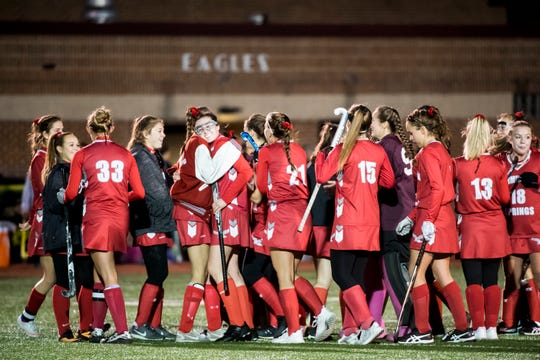 Bermudian Springs celebrates their 2-0 victory over Red Lion in a YAIAA tournament semifinal game on Thursday, October 18, 2018. The Eagles won 2-0.
