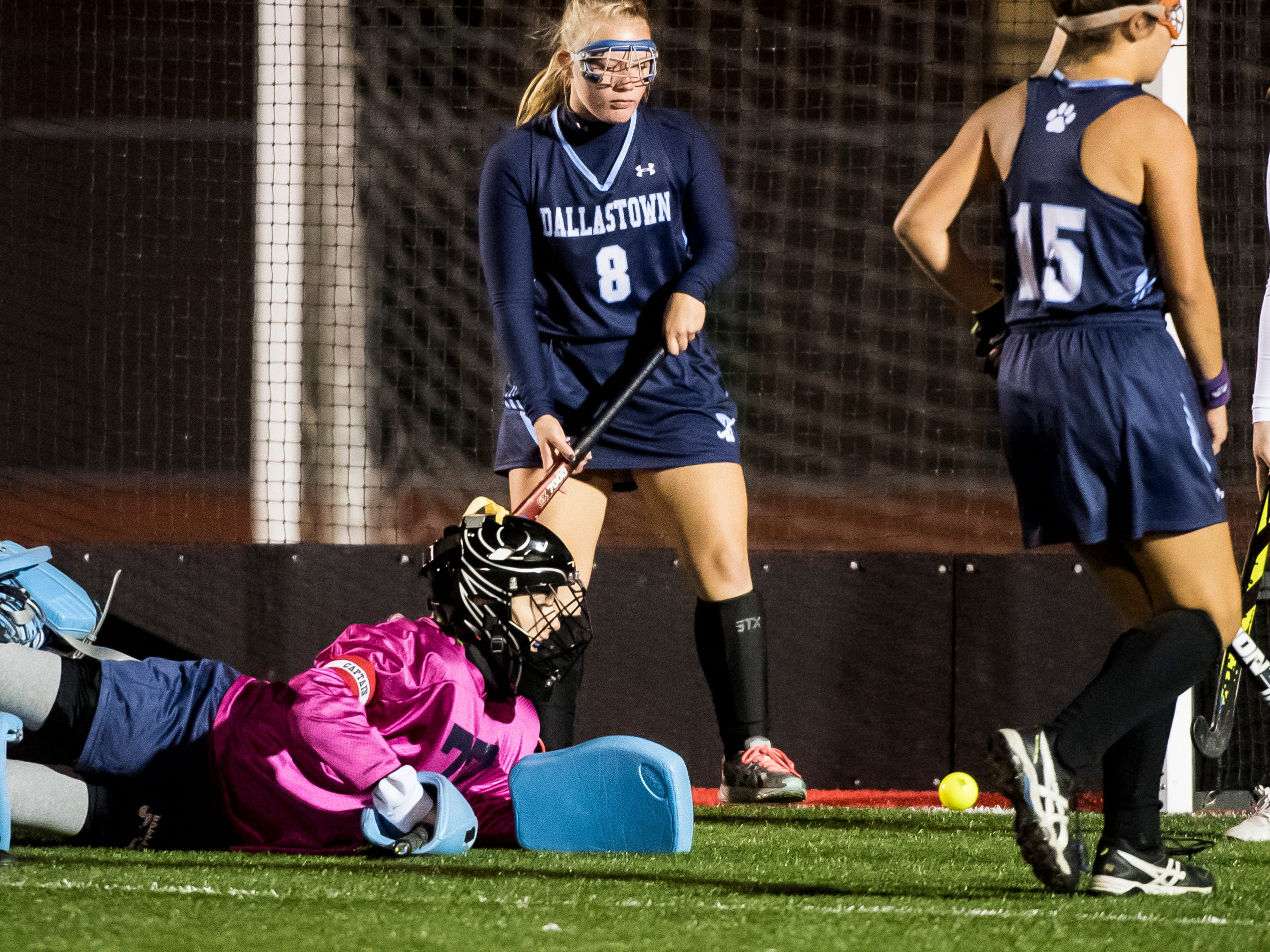 Dallastown goal keeper Piper Glattacker dives to deflect a Central York shot during a YAIAA tournament semifinal game on Thursday, October 18, 2018. The Wildcats fell 2-0.