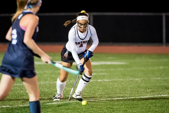 Central York's Breann Craley moves the ball down the field during play against Dallastown in a YAIAA tournament semifinal game on Thursday, October 18, 2018. The Panthers won 2-0 and advance to the championship game against Bermudian Springs on Saturday.