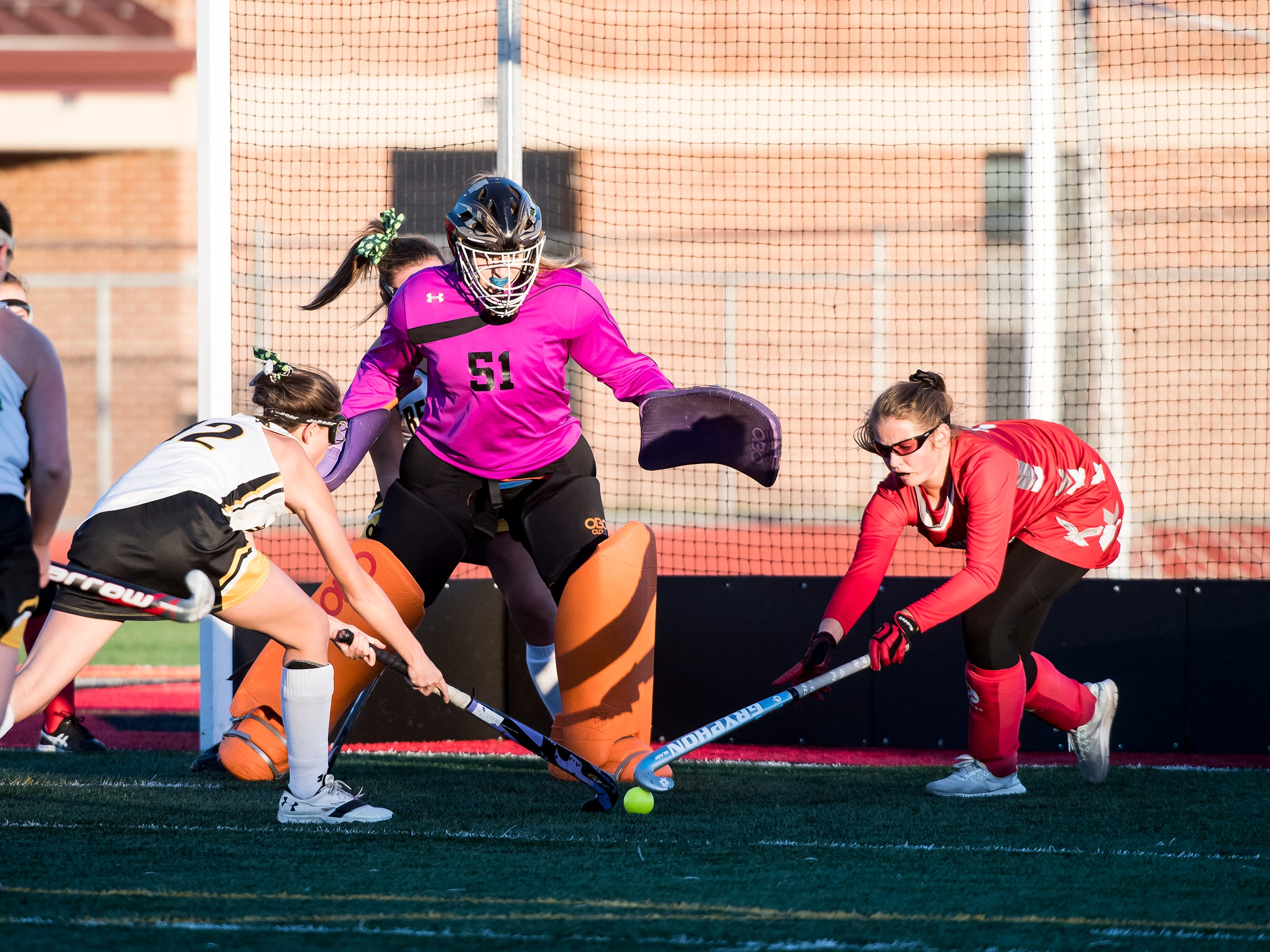 Action during a YAIAA tournament semifinal game between Bermudian Springs and Red Lion at Bermudian Springs High School on Thursday, October 18, 2018. The Eagles won 2-0.