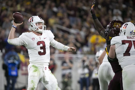 Stanford quarterback K.J. Costello passes during the second quarter of the Pac-12 college football game at Sun Devil Stadium in Tempe on October 18, 2018.
