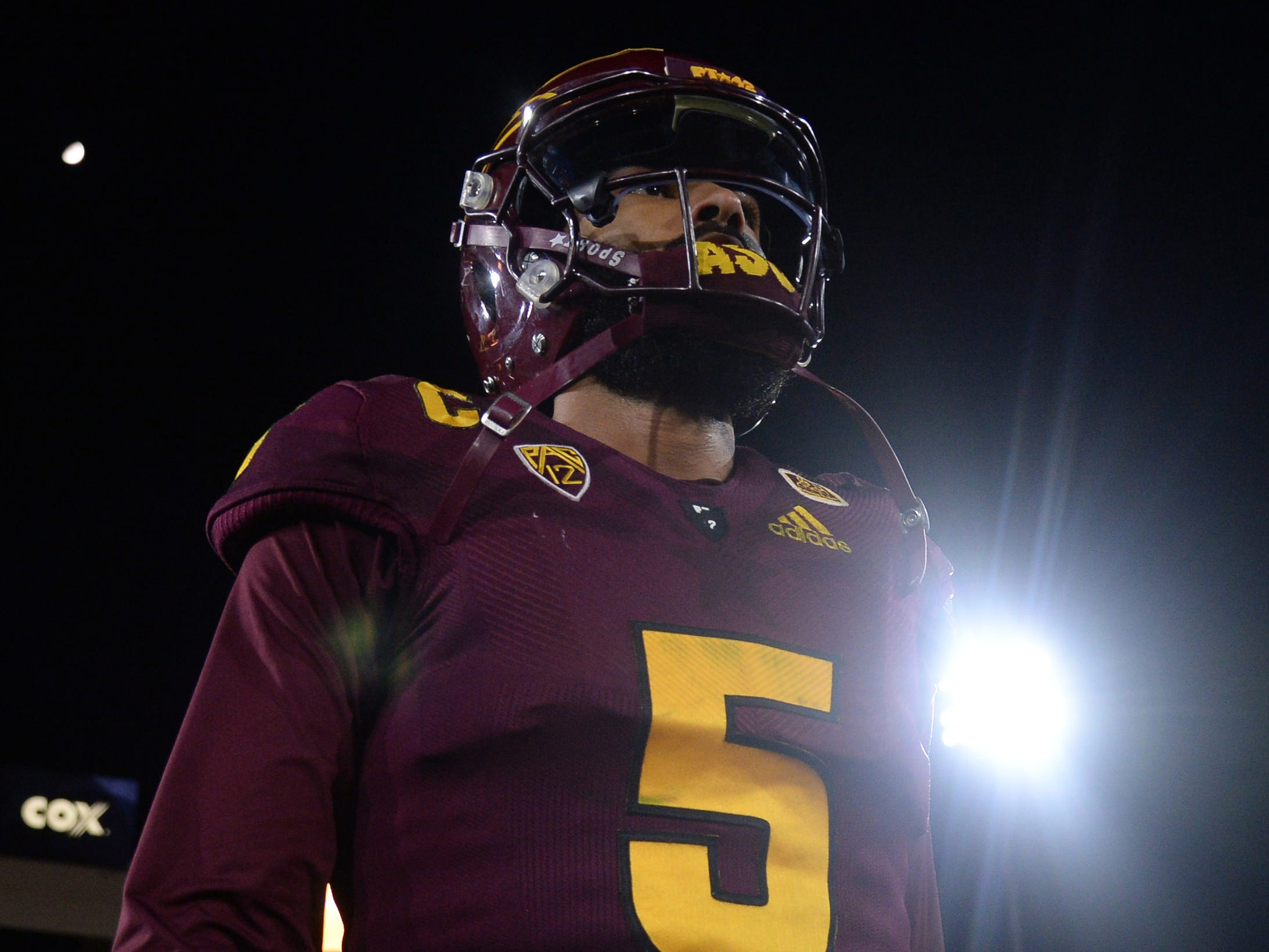 Oct 18, 2018; Tempe, AZ, USA; Arizona State Sun Devils quarterback Manny Wilkins (5) leaves the field against the Stanford Cardinal after the game at Sun Devil Stadium.