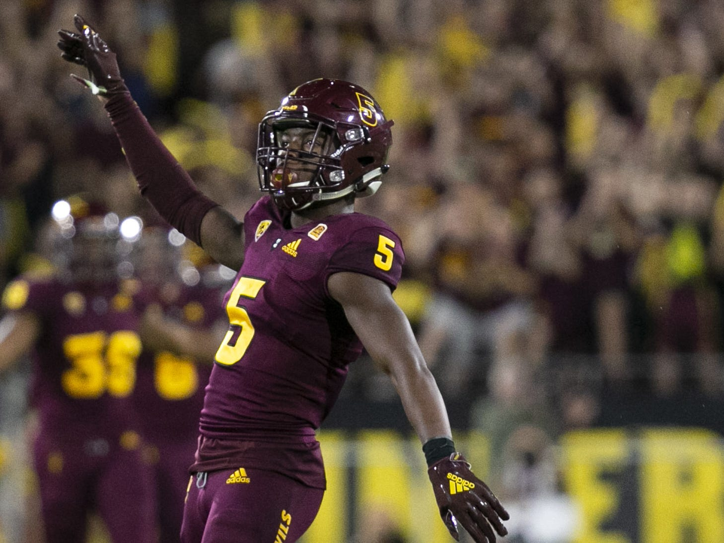 ASU defensive back Kobe Williams reacts after breaking up a pass against Stanford during the first quarter of the Pac-12 college football game at Sun Devil Stadium in Tempe on October 18, 2018.