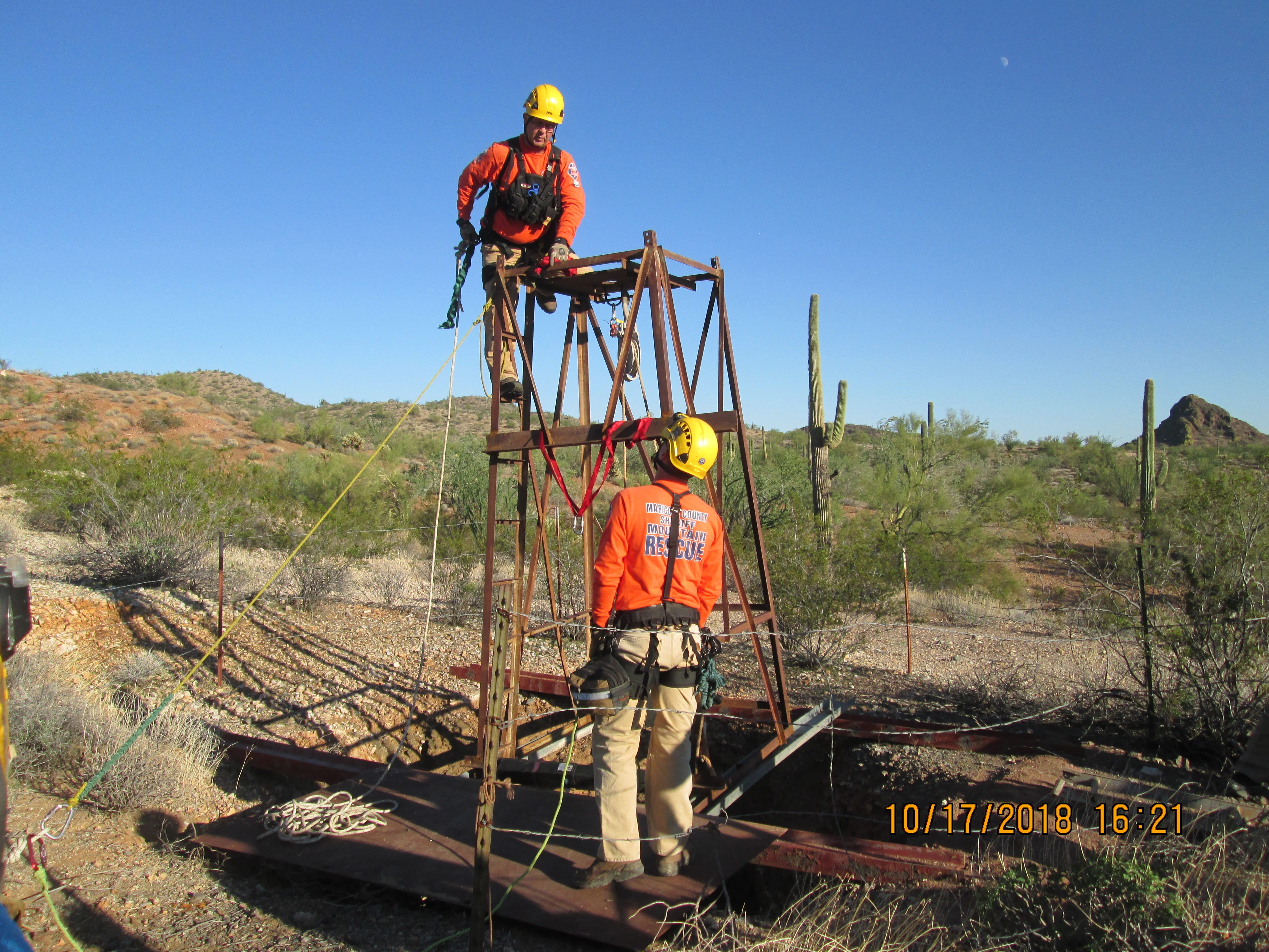 Rescue of man from Arizona mine shaft.