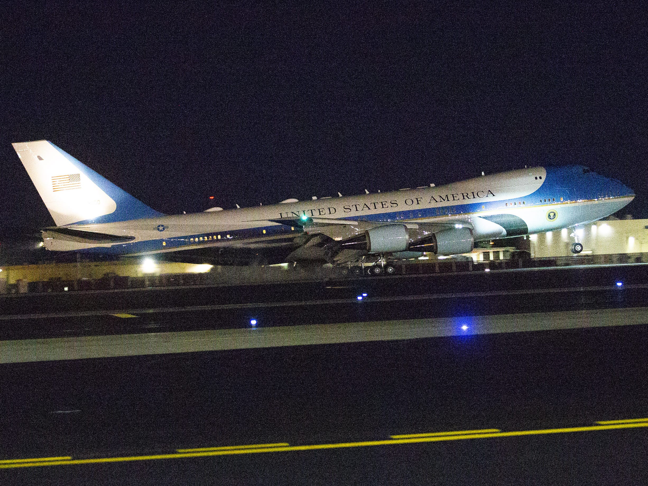 President Trump's Air Force One touches down at Phoenix Sky Harbor Airport on Oct. 18, 2018.