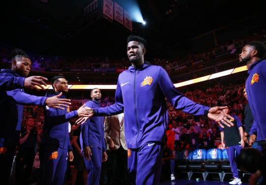Phoenix Suns center Deandre Ayton during introductions against the Dallas Mavericks during the season opener at Talking Stick Resort Arena on Oct. 17, 2018, in Phoenix, Ariz.