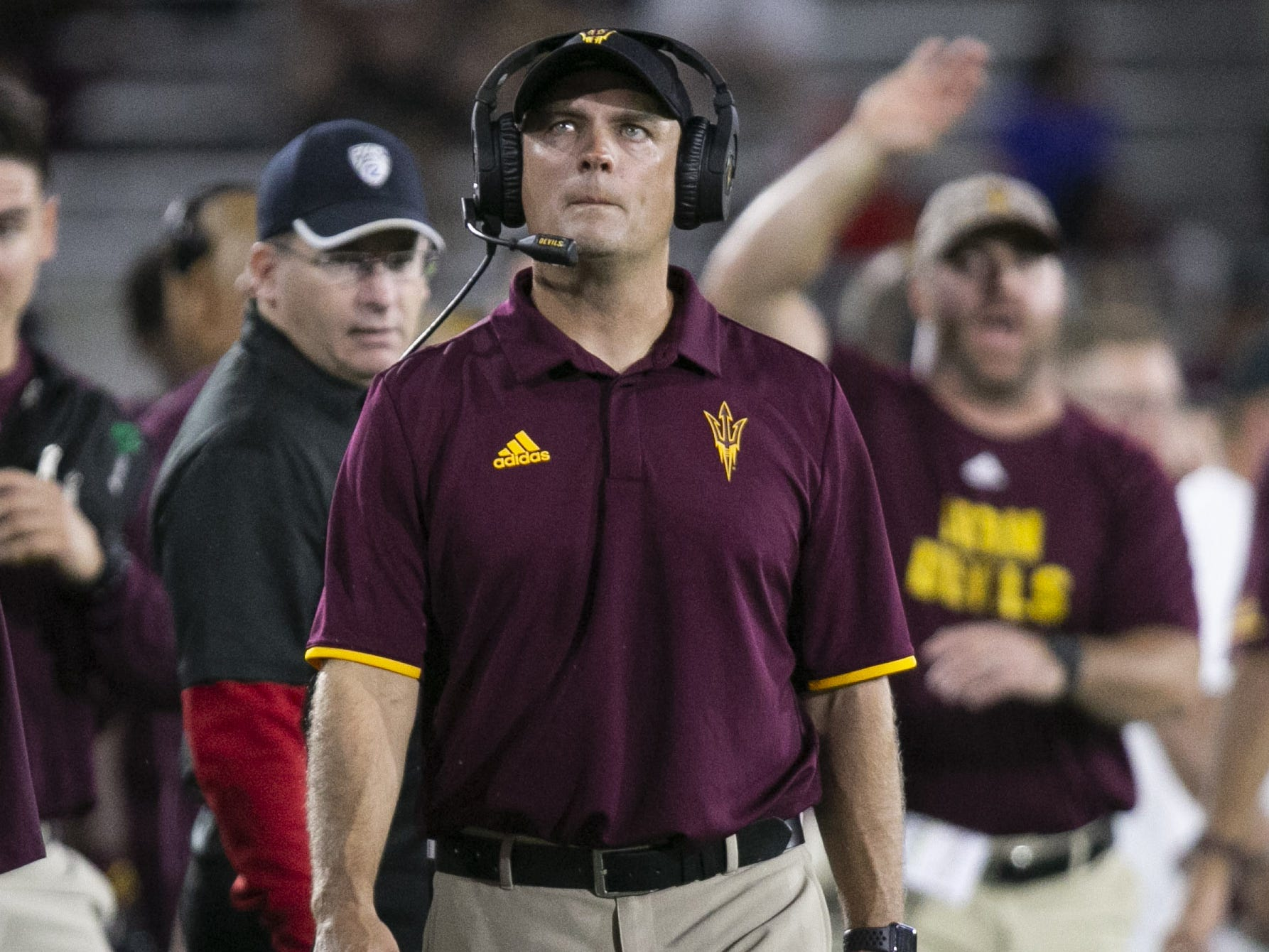 ASU ASU defensive coordinator Danny Gonzales looks on  during the first half of the Pac-12 college football game against Stanford at Sun Devil Stadium in Tempe on October 18, 2018.