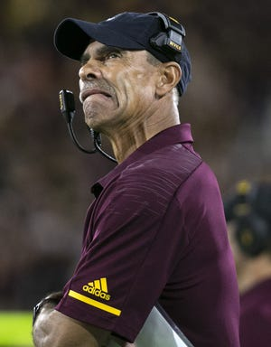 ASU head coach Herm Edwards during the first half of the Pac-12 college football game against Stanford at Sun Devil Stadium in Tempe on October 18, 2018.