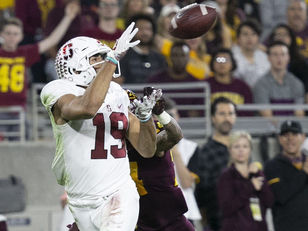 Stanford receiver JJ Arcega-Whiteside catches a pass for a touchdown pass against ASU during the third quarter of the Pac-12 college football game at Sun Devil Stadium in Tempe on October 18, 2018.