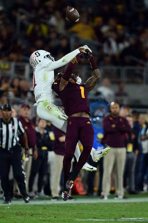 Oct 18, 2018; Tempe, AZ, USA; Stanford Cardinal cornerback Obi Eboh (22) defends a pass to Arizona State Sun Devils wide receiver N'Keal Harry (1) during the second half at Sun Devil Stadium.