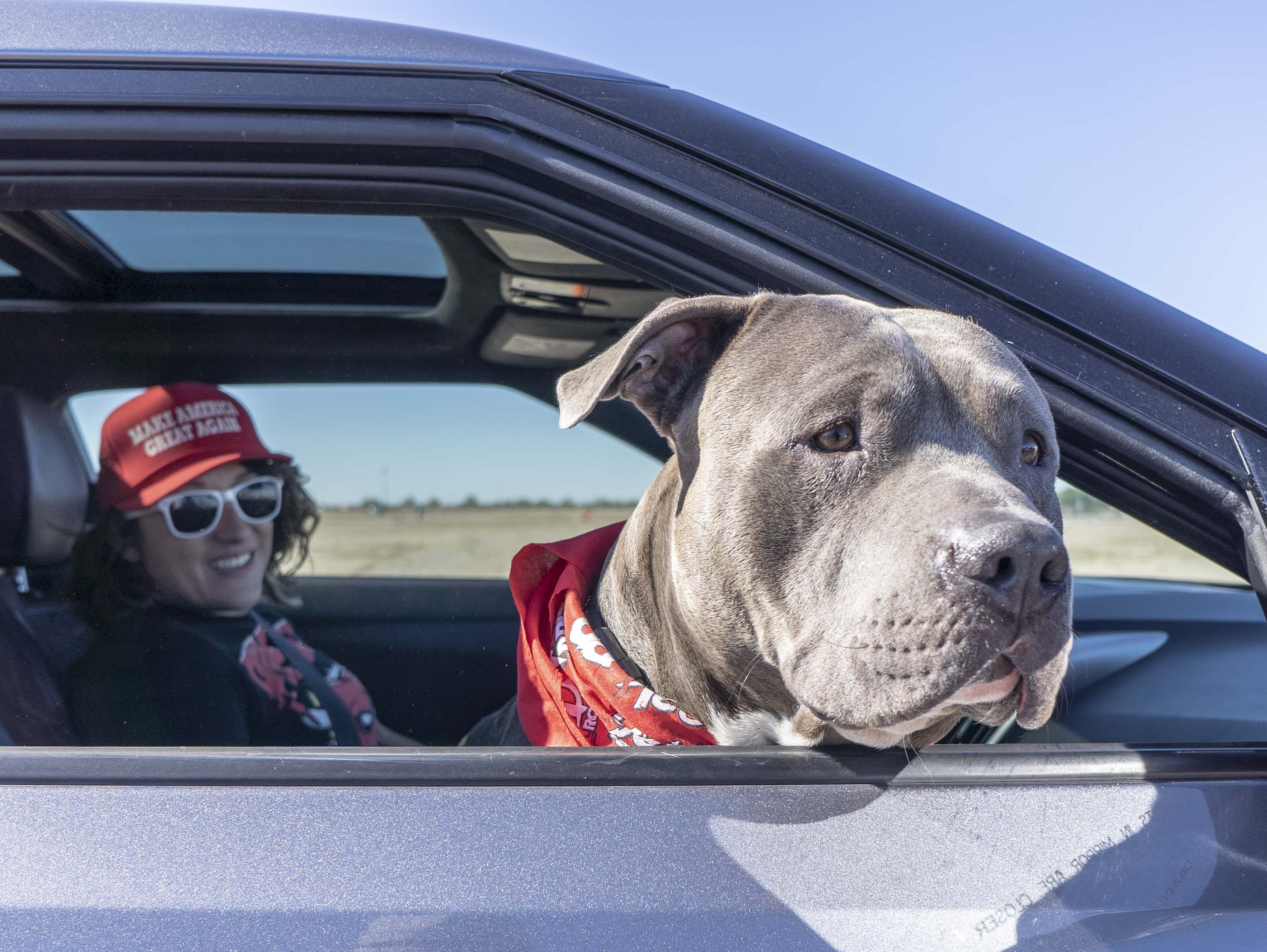 President Donald Trump supporter Kourtney Mei, with her dog Regan, drives in to watch president speech supporting Martha McSally at Phoenix-Mesa Gateway Airport on Oct. 19, 2018.