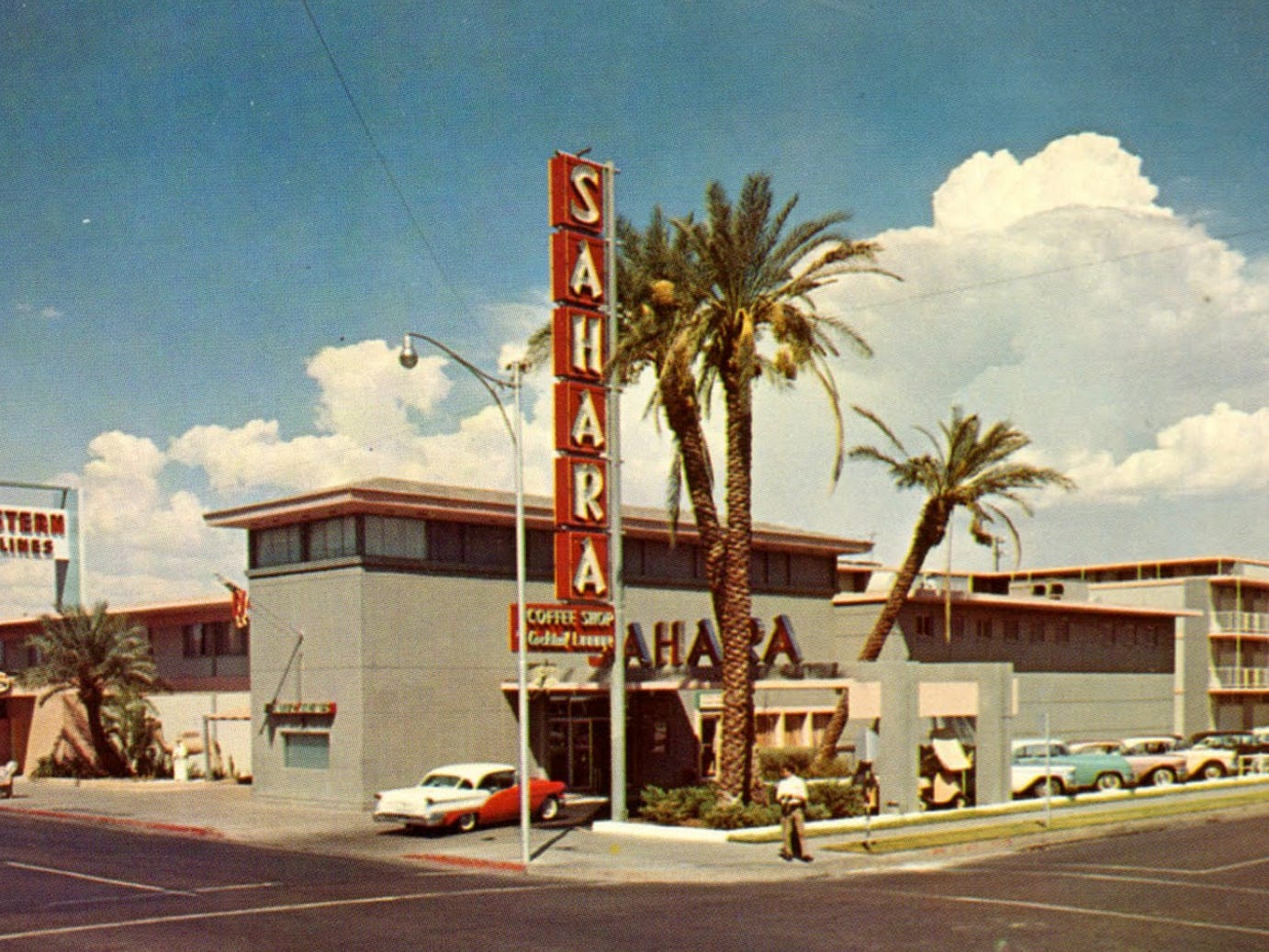 The Sahara Motor Inn opened in 1956 at the corner of First Street and Polk Street. It became the Ramada Inn in the 1960's.