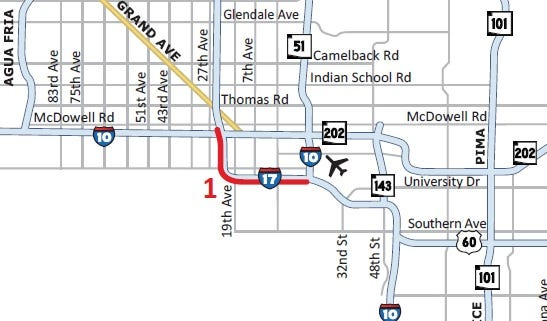 Southbound I-17 is scheduled for a closure from I-10 stack near McDowell Road to I-10 split near Sky Harbor Airport from 9 p.m. Friday to 9 p.m. Sunday for pavement improvement work.