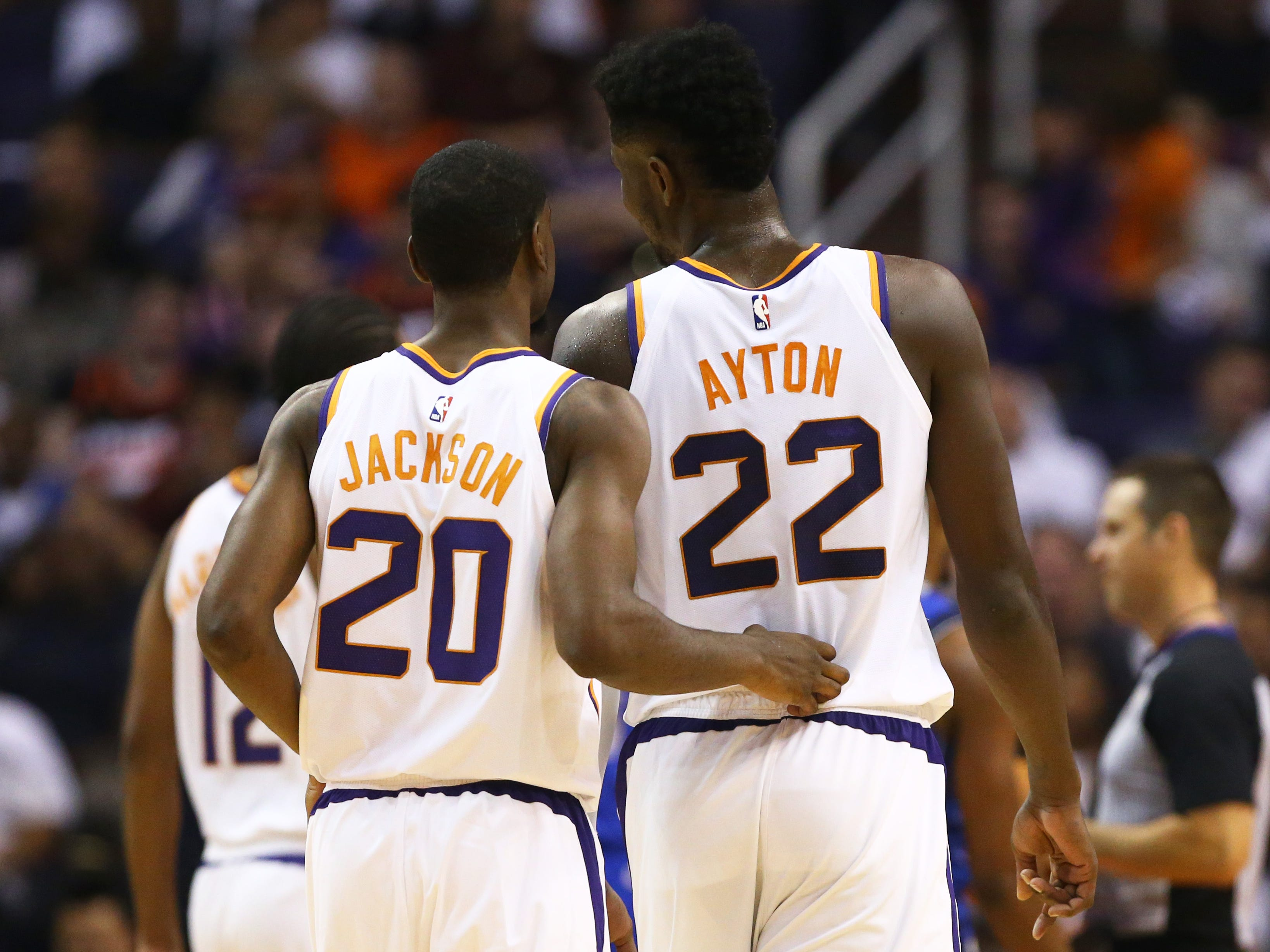Phoenix Suns Josh Jackson and Deandre Ayton against the Dallas Mavericks during the season opener at Talking Stick Resort Arena on Oct. 17, 2018, in Phoenix, Ariz.