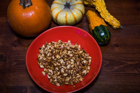 After carving your Halloween jack-o-lantern, you can roast the seeds with spices to create an easy, healthy snack. Chef Sasha Raj of 24 Carrots cafe in Tempe shares her recipe for Sweet and Spicy Pepitas.