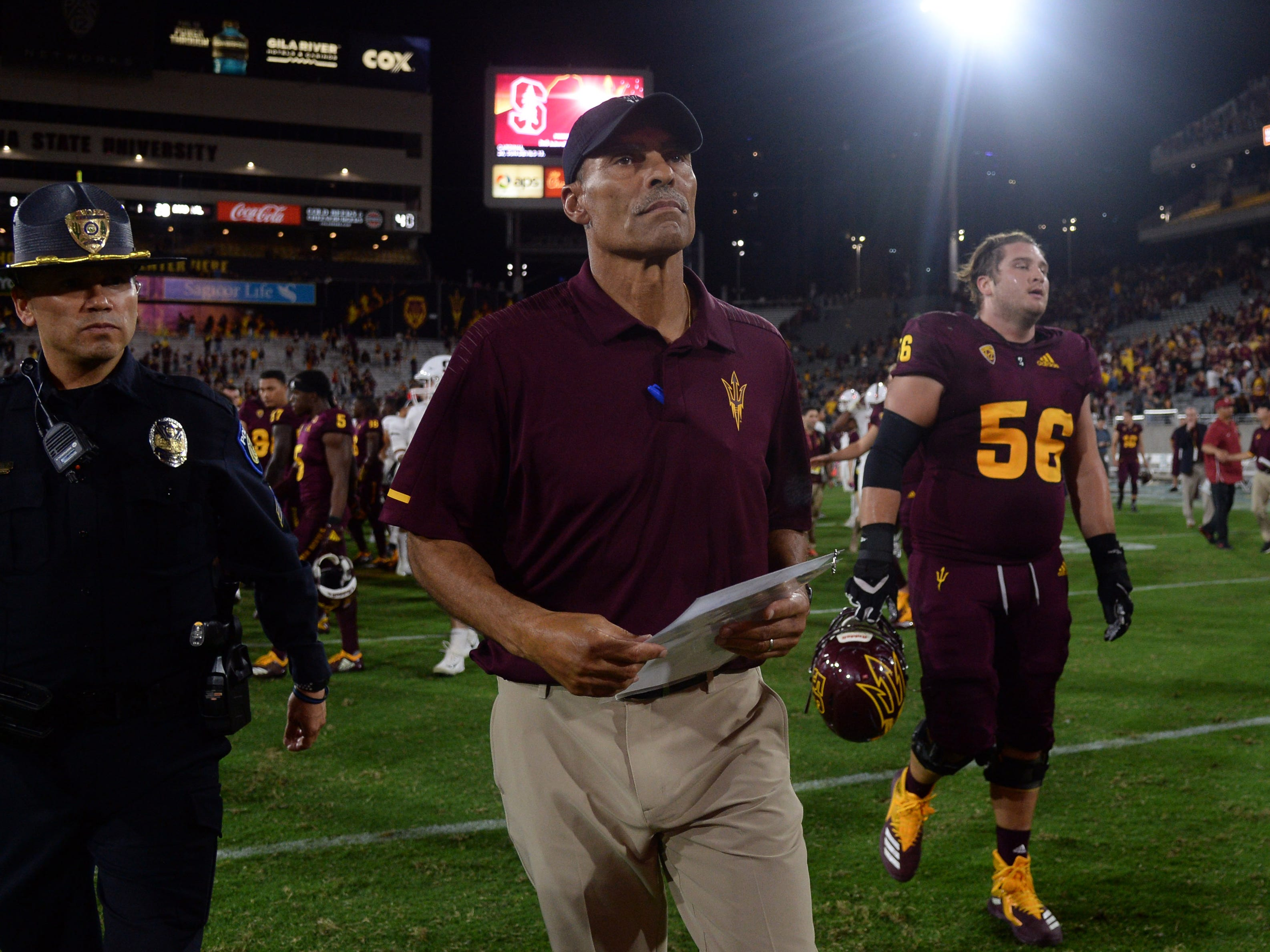 Oct 18, 2018; Tempe, AZ, USA; Arizona State Sun Devils head coach Herm Edwards leaves the after the game against the Stanford Cardinal at Sun Devil Stadium.