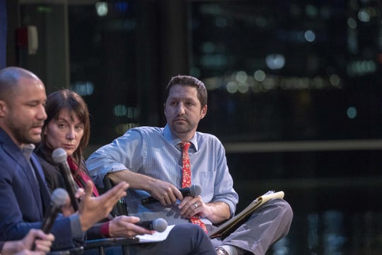 Arizona School Boards Association President-elect Lawrence Robinson (at left), Arizona Charter Schools Association President and CEO Eileen Sigmund (at center) and U.S. Rep. Paul Boyer discuss education and school choice during a forum hosted by The Arizona Republic and HuffPost at Tempe Center for the Arts on Oct. 18, 2018.