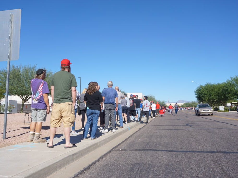 Around 2 p.m., the line outside of the Donald Trump rally at Phoenix-Mesa Gateway Airport was about a half-mile long.