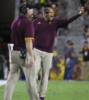 ASU linebackers coach Antonio Pierce shouts during the first half of the Pac-12 college football game against Stanford at Sun Devil Stadium in Tempe on October 18, 2018.