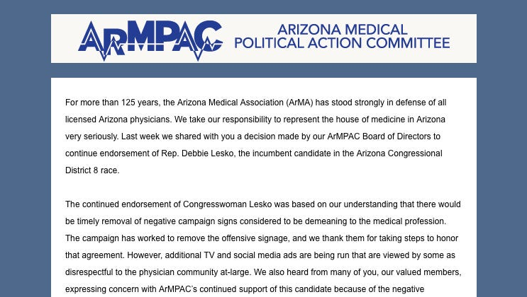 Medical group yanks endorsement of Rep. Debbie Lesko over 'phony' doctor TV ads