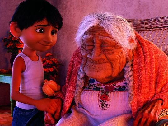 "In the film ""Coco,"" Miguel has a special relation with his great grandmother."