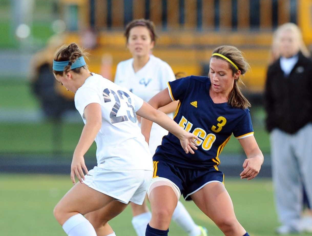 Elco's Katelyn Rueppel (3) battles CV's Megan Slingluff (23) for the ball during the first half of play.