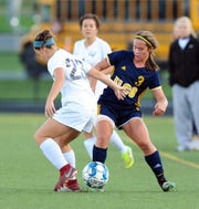 Elco's Katelyn Rueppel (3) scored the game-winning goal in the Raiders' 3-2 overtime win vs. Garden Spot on Tuesday.