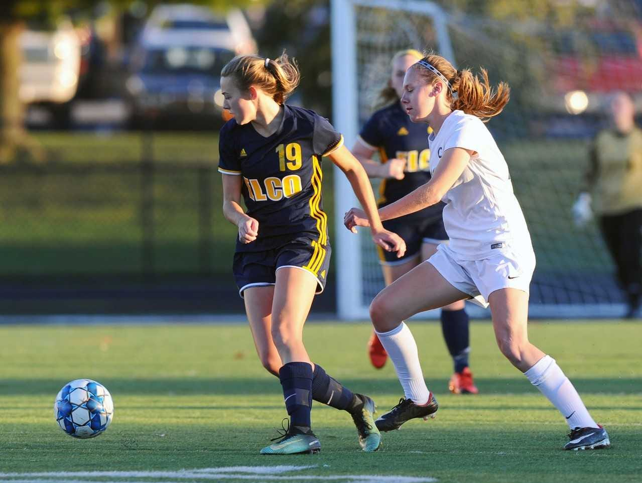 Photo #7 Elco's Natalie Swingholm (19) tries to get to the ball before the CV defender. Photo Jeff Ruppenthal.