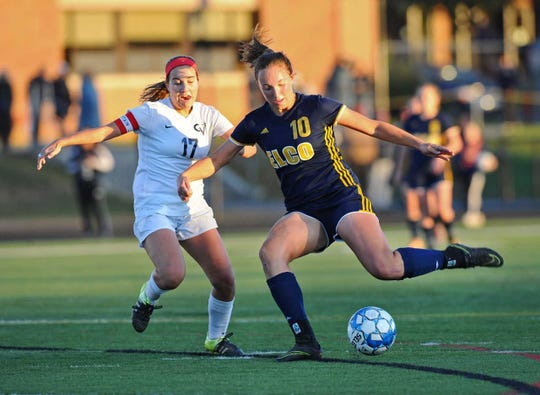 Elco's Ryelle Shuey prepares for a shot that became one of her two left-footed goals in the Raiders' 2-1 L-L title game victory over Conestoga Valley.