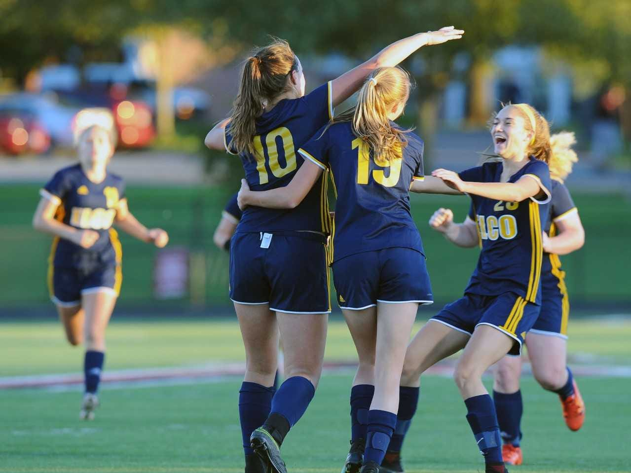 Ryelle Shuey (10) and her teammates celebrate after she scores her second goal of the game to put Elco in the lead 2-1. Photo Jeff Ruppenthal.