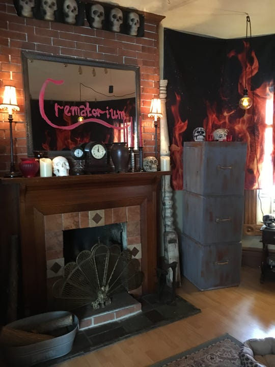 The Bembas' living room is decorated to be a crematorium. Their haunted open house begins at 6:30 p.m. Saturday at the family's home, 1713 St. Clair River Drive, in Algonac.