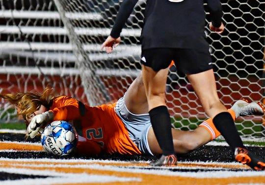Morgan Wood makes a save last year for Central York when she was a sophomore.
