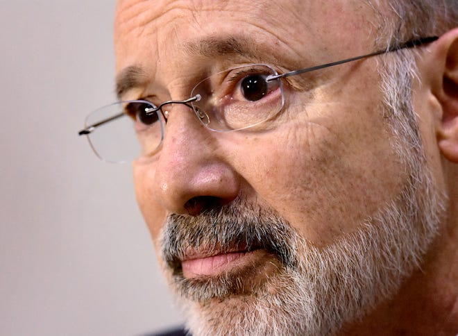 Pennsylvania Governor Tom Wolf takes questions during a meeting with The York Dispatch editorial staff at the Dispatch offices Friday, October 19, 2018. Bill Kalina photo