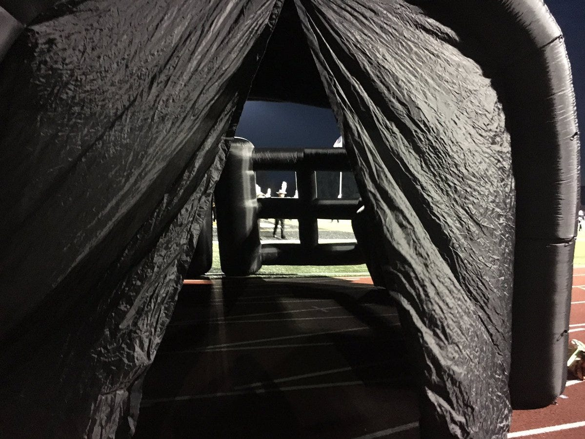 Looking through the tunnel before the Northeastern football team took to the field Friday night.