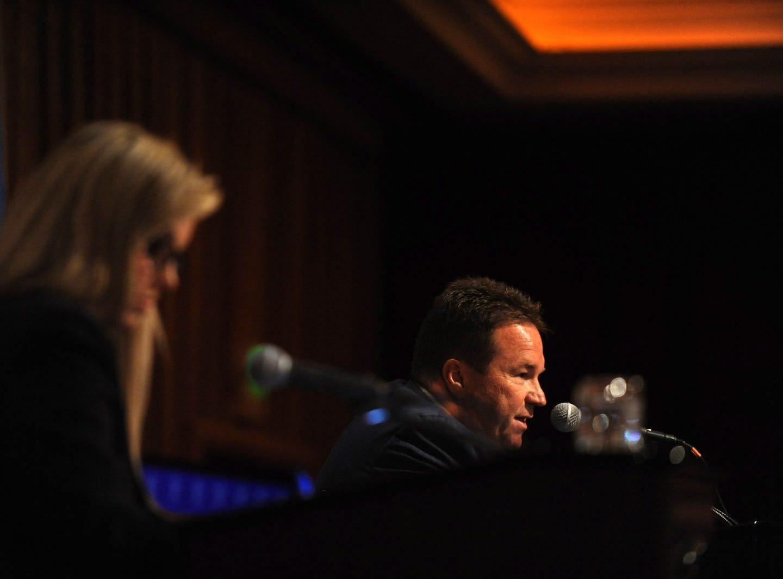 Incumbent Reno Mayor Hillary Schieve debates challenger Eddie Lorton at the Peppermill Resort Spa Casino in Reno on Oct. 18, 2018.
