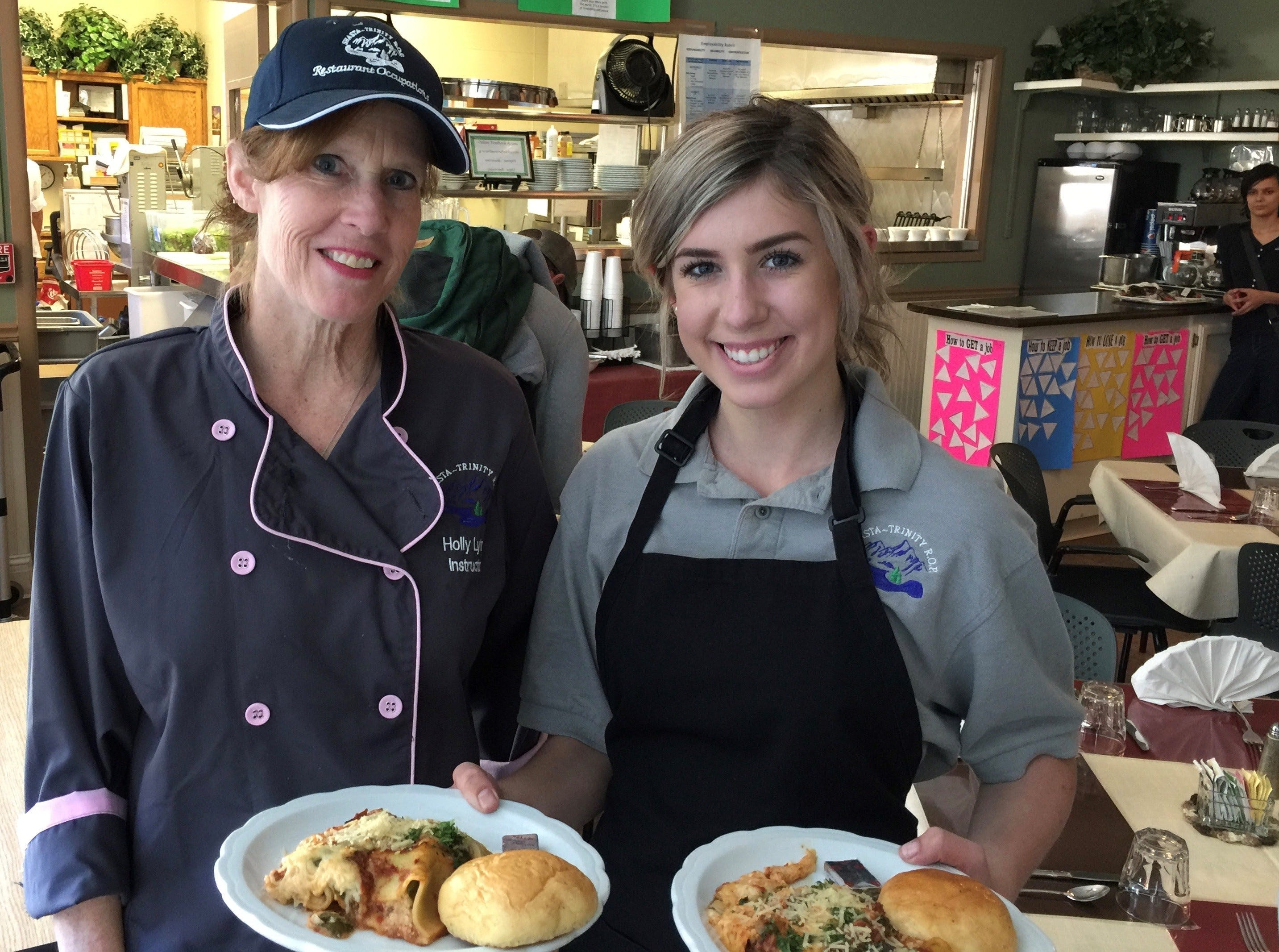 Instructor Holly Lyter and student server Kate Kuzia at The Classroom restaurant on Magnolia Avenue in Redding.