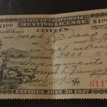 Vintage licenses part of California's outdoor rec history