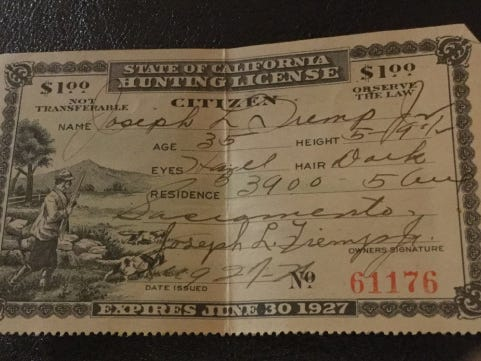 1927 California hunting license