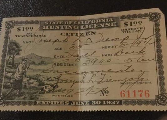 1927 Hunting License