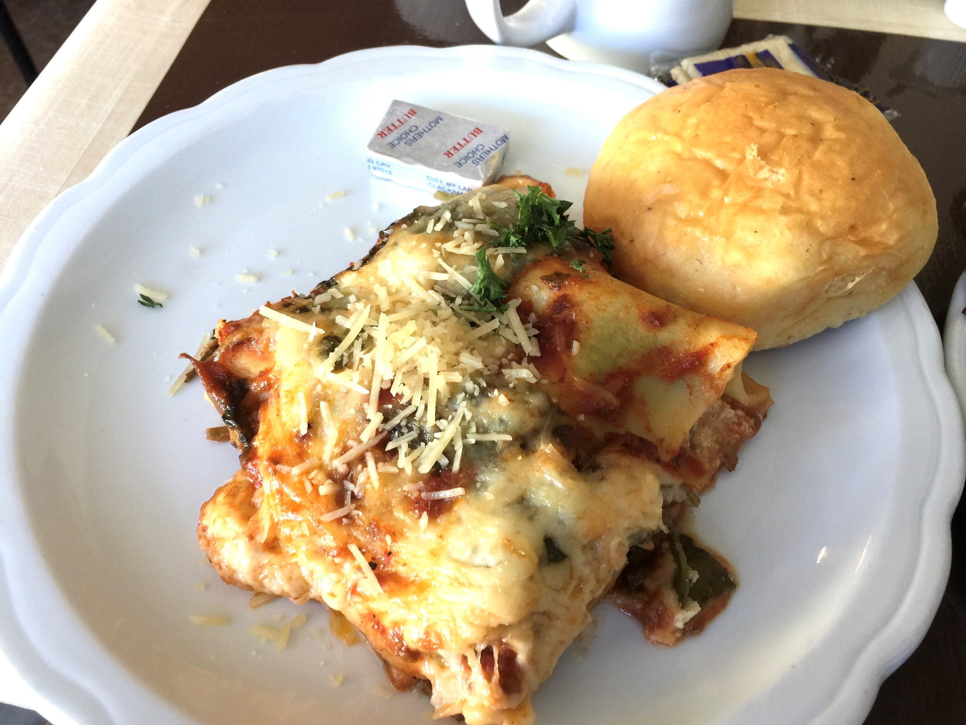 The lasagna special at The Classroom restaurant in Redding.