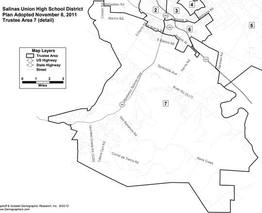 Salinas Union High School District Trustee Area 7, where Jeff Davis and Kristina Szaszy-Jones are running.