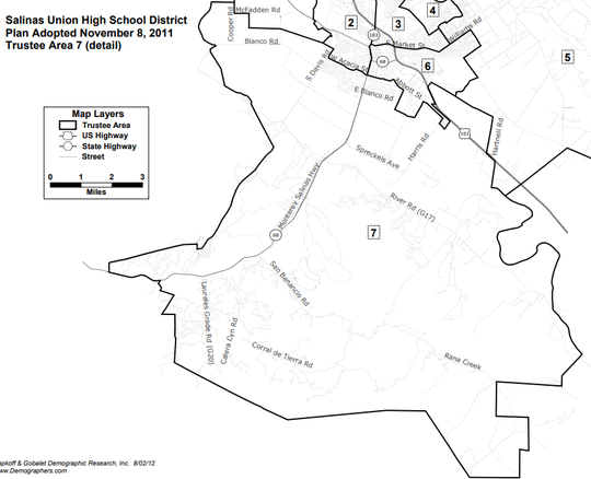 Salinas Union High School District Trustee Area 7, where Jeff Davis and Kristina Szaszy-Jones are running.